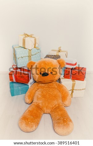 big teddy bear in gifts - stock photo