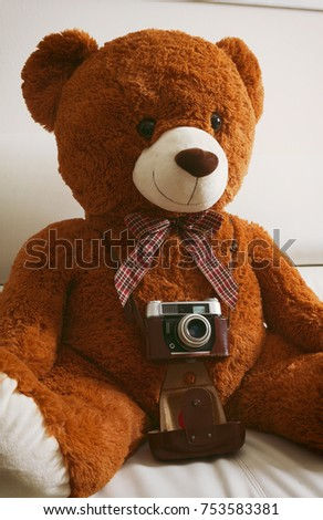 Big teddy bear with vintage 35mm camera. There are no trankmarks.