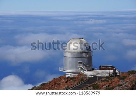Big telescope at highest peak of La Palma (Roque de los Muchachos ), Spain - stock photo