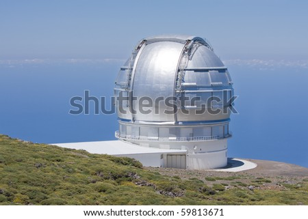 Big telescope at highest peak of La Palma, Spain - stock photo