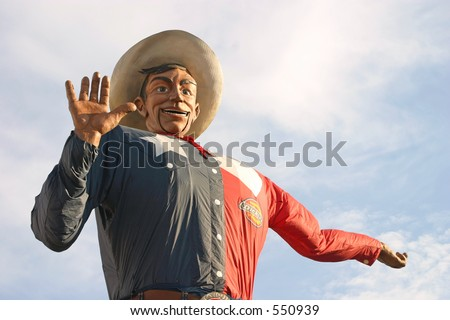 Big Tex, the gigantic mascot of the State Fair of Texas in Dallas, Texas. - stock photo