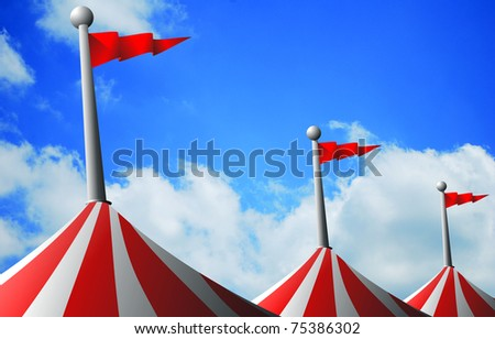 Big top focusing on flags against a cloudy sly - stock photo