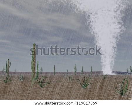 Big tornado, rain and wind in the arizona desert and cloudy sky - stock photo