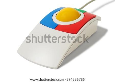 Big trackball isolated on white background - stock photo