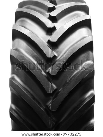 big tractor tire isolated - stock photo