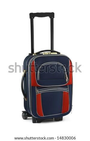 Big travel case isolated on white background - stock photo