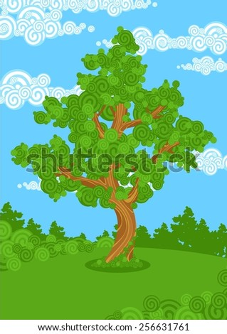 Big tree (raster version) - stock photo