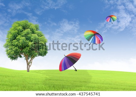 Big trees on the grass Background sky.Colourful umbrellas floating in the sky