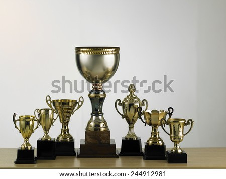 big trophy stand out from the others - stock photo