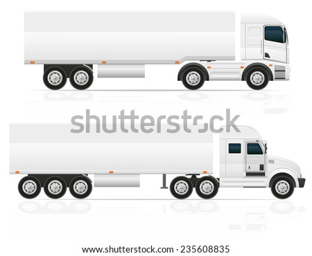 big truck tractor for transportation cargo illustration isolated on white background - stock photo