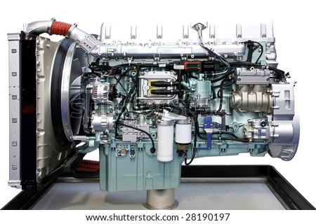 Big truck turbo charged engine isolated on white - stock photo
