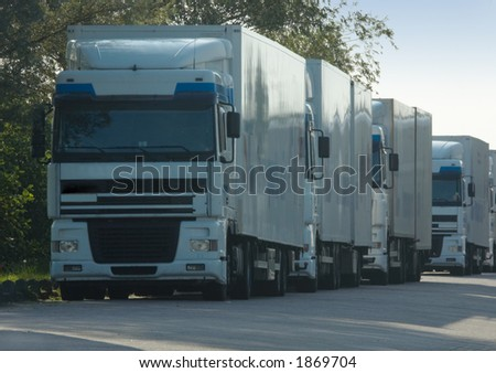 Big trucks for delivering cargo - stock photo