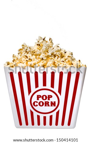Big Tub Full Of Popcorn Isolated On A White Background/ Time For Movie Fun