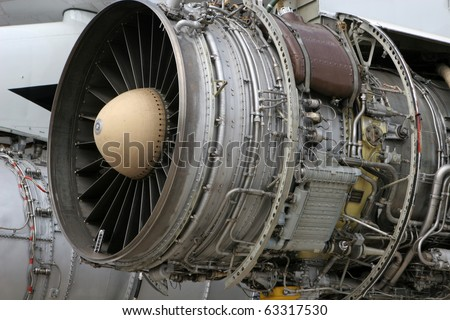 Big turbine from airplane - stock photo