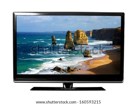 big tv screen with beautiful Australian landscape.. - stock photo