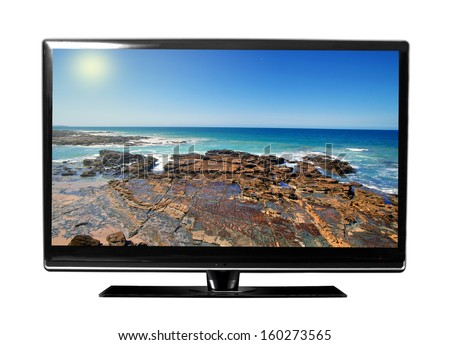 big tv screen with beautiful landscape  - stock photo