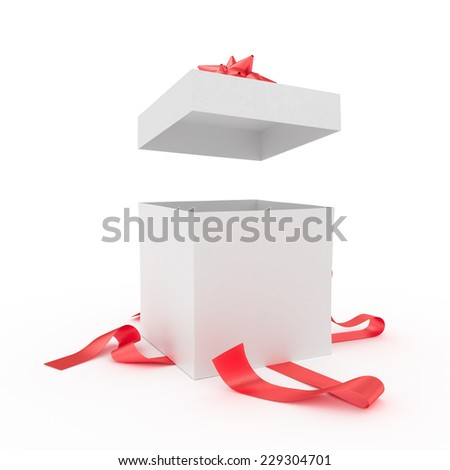 Big unpacked gift box with red ribbon isolated on white - stock photo