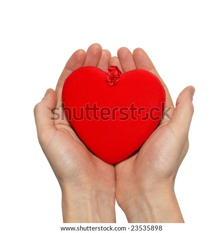Big valentine heart in a hands.