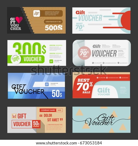Big Voucher Discount Template Set Gift Stock Illustration 673053184