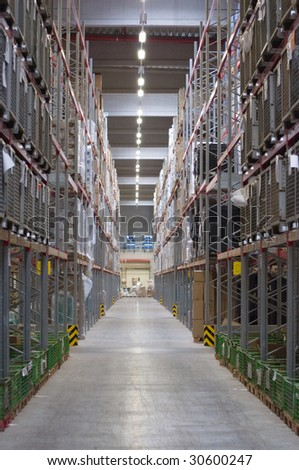 Big warehouse with perspective lines - stock photo
