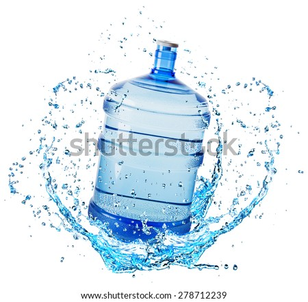 big water bottle in water splash isolated on white background - stock photo
