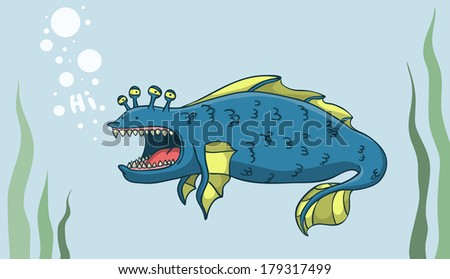 Big water monster searching friends.  Illustration. - stock photo