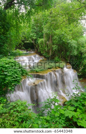"big waterfall ""Huay Mae ka-min"" in the deep forest, thailand"