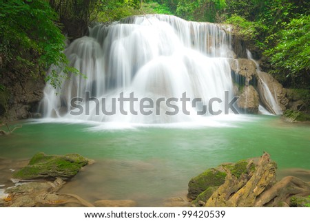 Big waterfall in Kanjanaburi Thailand