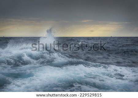 big wave in Adriatic sea  - stock photo