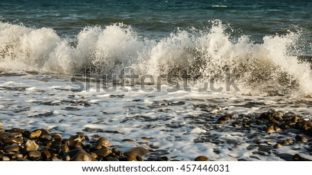 big wave on the beach - stock photo