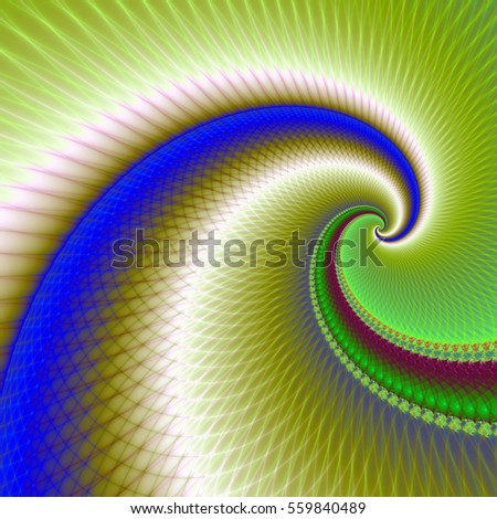 Big Wave Spiral in Green and Blue / A digital fractal image with an exploding, pulsating star design in blue, red, turquoise and yellow.