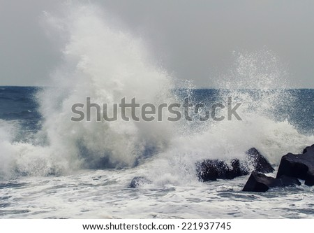 Big waves at Black Sea. View of storm seascape  - stock photo