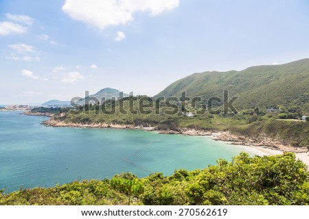 Big waves beach is part of Shek O country park in Hong Kong island. This is the end of the very popular Dragon's Back Trail. - stock photo
