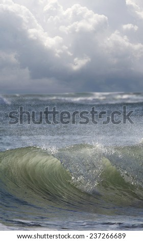 Big Waves Build as the Storm Approaches - stock photo