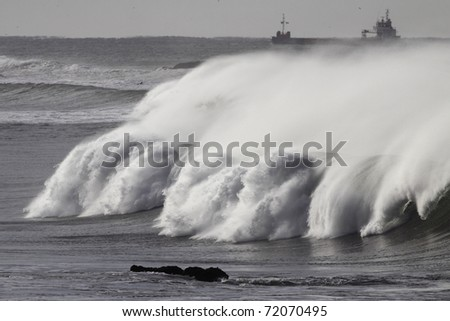 Big waves during a storm in the north Portuguese coast