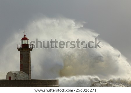 Big waves in a stormy but sunny day in the Portuguese north coast. - stock photo