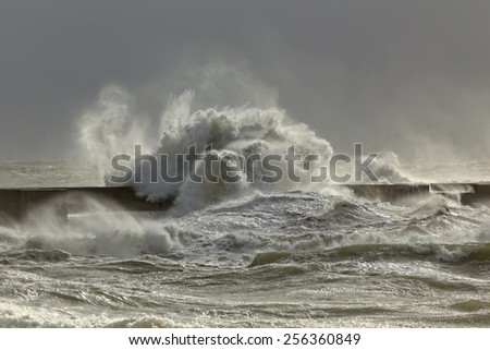 Big waves in a sunny storm. Portuguese north coast. - stock photo