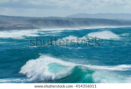 big waves in ocean - stock photo