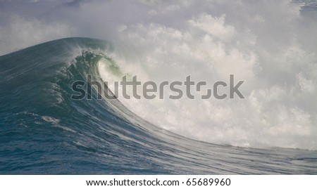 big waves in stormy sea - stock photo