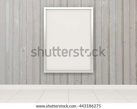 Big white billboard with reflective chrome metal frame on the corrugated concrete gray wall. Advertisement in the subway transit street shopping center market shop restaurant premises. 3d illustration - stock photo