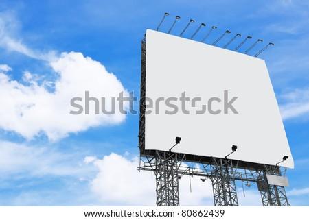 big white blank billboard - stock photo