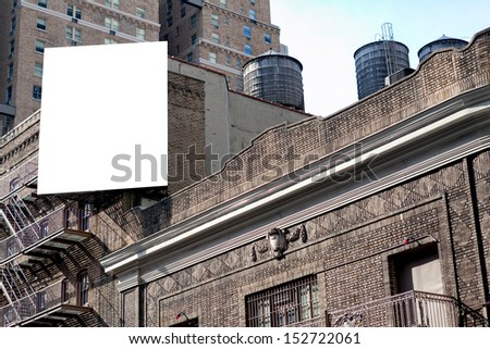 Big White Blank Billboard On The Grey Brick Building