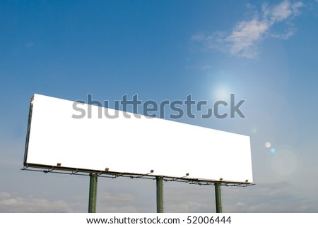 Big white blank billboard with blue sky and sun backdrop