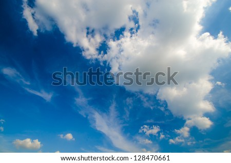 Big white cloud with blue sky - stock photo