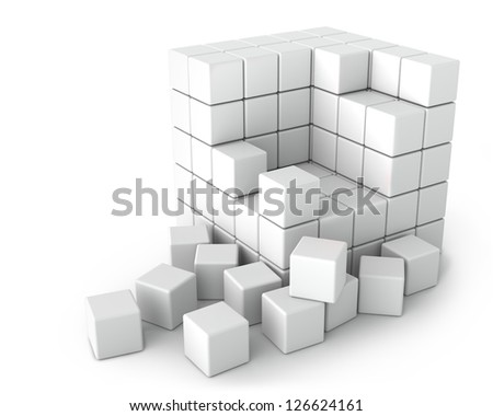 Big White Cube of Small Cubes on the White Background - stock photo