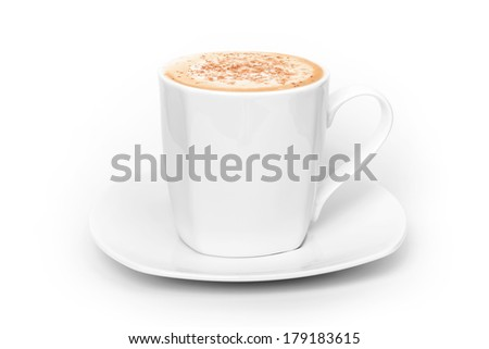Big white cup of cappuccino above white background - stock photo
