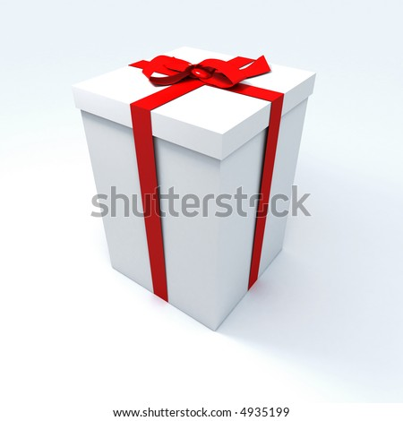 Big white gift box with a red ribbon on a neutral background - stock photo