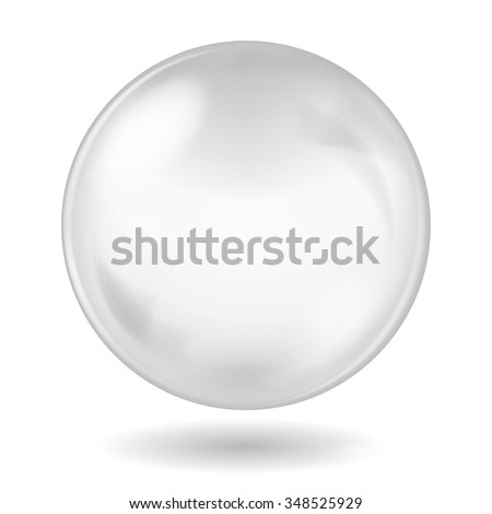 Big white glass sphere with glares and shadow