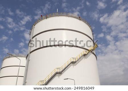 Big white oil tanks - stock photo