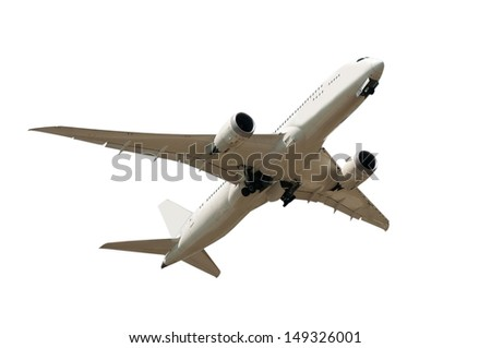 big white plane isolated on white background - stock photo